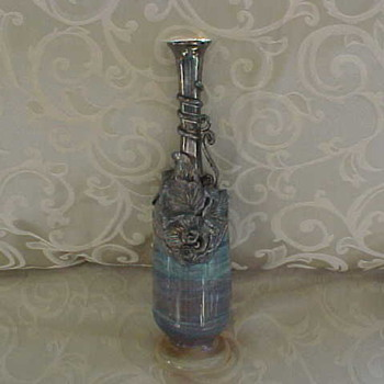 Glass Vase with Silver Overlay - Art Glass