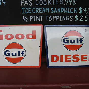 2 Antique Porcelain  gas pump signs Good Gulf & Gulf Diesel - Signs