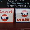 2 Antique Porcelain  gas pump signs Good Gulf & Gulf Diesel