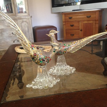 Art Glass Birds - Pair - Art Glass