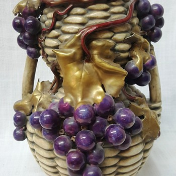 "10"" Vase with life size grapes Maker? - Pottery"