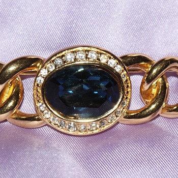 Christian Dior Costume Pin With Large Blue Glass Stone  - Costume Jewelry