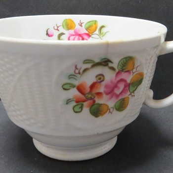 New Hall Porcelain Cup - Basket weave pattern - China and Dinnerware
