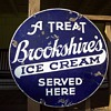 Antique BrookShire's Ice Cream Doubled Sided Porcelain Sign