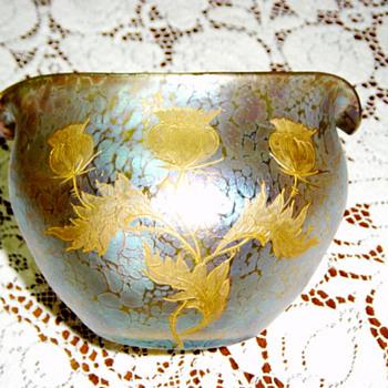 Loetz Enameled Gilt Vase~ signed Steuben - Art Glass