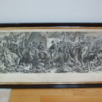 Engraving depicting Blucher and Wellington After The Battle of Waterloo  - Military and Wartime