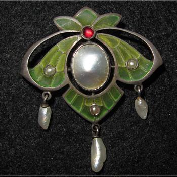Plique-a-jour enamel, silver and pearl brooch. - Fine Jewelry