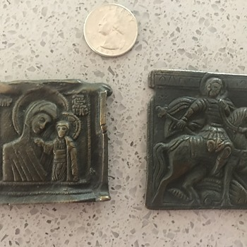 What are these metal/bronze religious trinkets - Medals Pins and Badges
