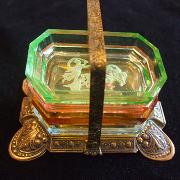 Czech Salt Cellers/Ashtrays- in Brass Holder -Aschenbecher- - Art Glass