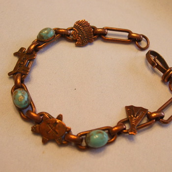 Early Vintage Native Themed COPPER BRACELET with Incrusted Turquoise - Native American