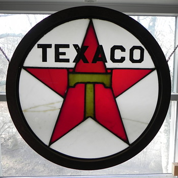 "Stained glass ""TEXACO"" Sign"