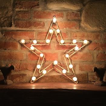 1960s Metal Framed Lightbulb Star - Christmas