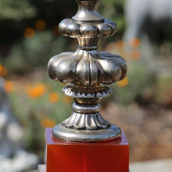 Bombay Co. Lucite, Marble and Silver Plate Finial
