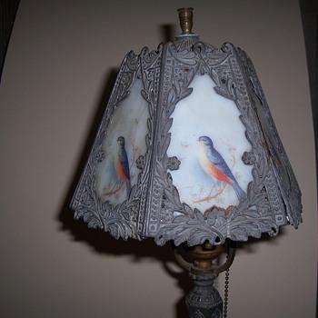 PEWTER BLUEBIRD LAMP