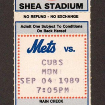 1989 - NY Mets Baseball Ticket - Paper