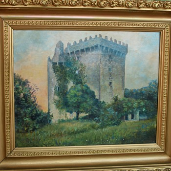 Late 1800's Blarney Castle Oil Painting in Gold Gilded Frame