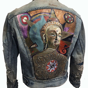 "HANDPAINTED 1960's Golden Buddha ""Morning Star"" Hippie Denim Jacket - Folk Art"