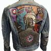 "HANDPAINTED 1960's Golden Buddha ""Morning Star"" Hippie Denim Jacket"
