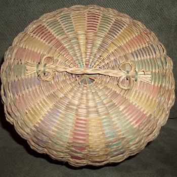 Beautiful sewing basket, made by a member of the Wabanaki tribes.  - Native American