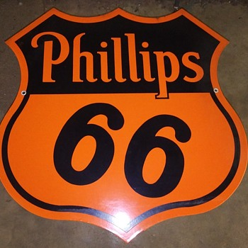 NOS Phillips 66 30 inch double sided porcelain sign - Petroliana