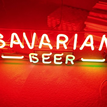 Bavarian Beer neon sign, vintage.