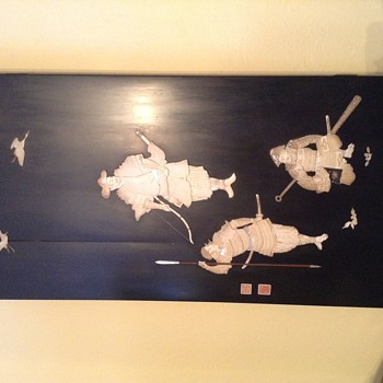 Meiji panel by Naito three Samaurai  - Asian