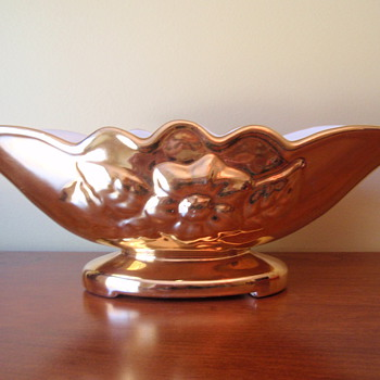 Gold Hull Magnolia Console Bowl - Pottery