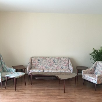 HELP! Wegner? 7 pc Danish modern Teak/rosewood? Set. Boomerang coffee table. End tables. Footstool. Sofa. chairs.  - Furniture