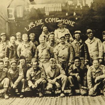 "My Uncle and his flight team in front of the plane, ""Lassie Come Home."" WWII - Military and Wartime"