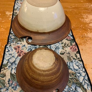 pine trees and mountains bowl, Who are you? Where are you? - Pottery