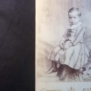 LITTLE BOY IN WELL MADE DRESS,LOOKS SOBER ABOUT HAVING HIS PICTURE TAKEN - Photographs