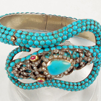 Sir Hiss -- turquoise serpent bracelet - Fine Jewelry