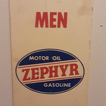 'smalls on the wall #1', plastic ZEPHYR fuel/oil MEN ('s room) sign  - Signs