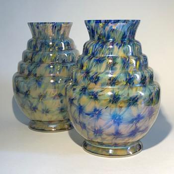 Kralik Iris 'Starburst' pattern vases - Art Deco
