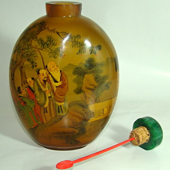 Master Chinese Scent Bottle - Reverse Painted - Asian