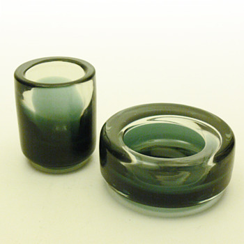 Ashtray and cigarette case set, Per Lütken (Holmegaard, ca.1960?) - Art Glass