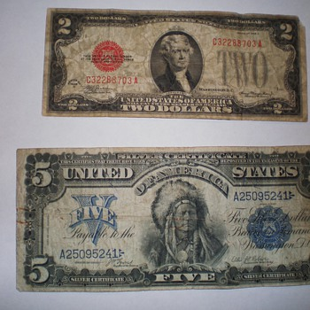 1899 $5 Silver Certificate and a 1928 D $2 bill - US Paper Money