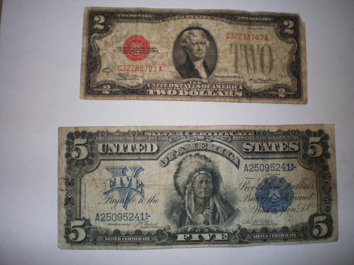1899 5 Silver Certificate And A 1928 D 2 Bill Collectors Weekly