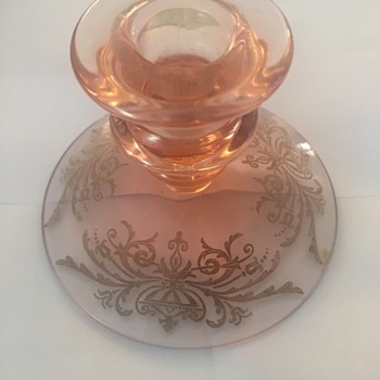 Pink Depression Glass Candleholder with Etched Foot - Glassware