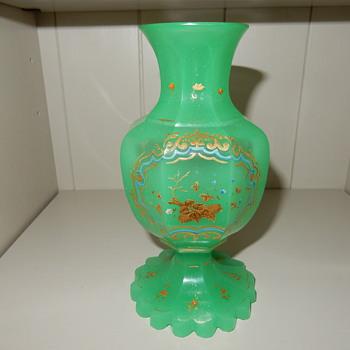 Biedermeier Enamelled Opaline Glass Vase. - Glassware