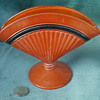 Orange and black Czech art deco fan vase