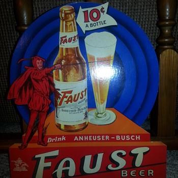 Faust Beer 1930's Die Cut Cardboard Anheuser-Busch  - Breweriana