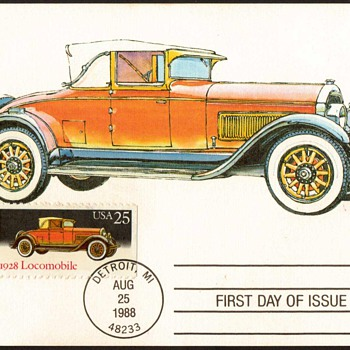 "1988 - ""1928 Locomobile"" - First Day Issue Stamped Card - Stamps"