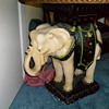 Marble top with plaster elephant base antique table   may be 1900 or late 1800