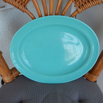 Buffalo USA China - oval platter blue/green - China and Dinnerware