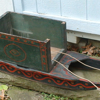 Mid 19th Century Child's Cutter Sled With Hand-Forged Runners Added Box For Newspaper Delivery 1933 J.F. Nagle - Folk Art