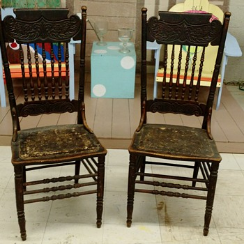 Just picked, kewl very old chairs with leather seat insets - Furniture