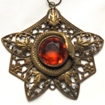 Victorian Pendant with Snake and Citrine Stone - Victorian Era