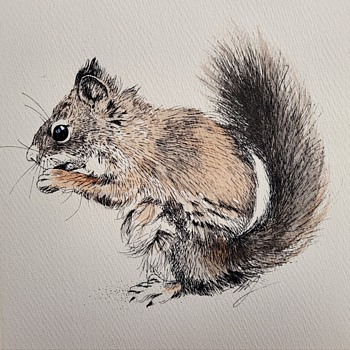 Mixed Media Squirrel Print  - Posters and Prints
