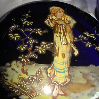 Cobalt Glass Vanity Box Hand Painted Lady - Art Glass
